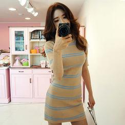 chuu - Short-Sleeve Stripe Knit Bodycon Dress