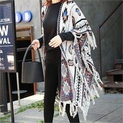 Picapica - Fringe-Trim Patterned Long Cape Cardigan