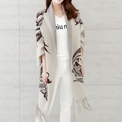 Donnae - Fringed Printed Poncho