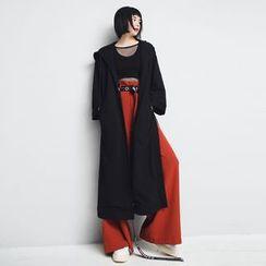 Sonne - Slit-Hem Hooded Long Jacket
