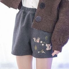 Moriville - Squirrel Embroidered Shorts