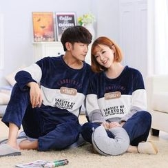 Fancy Show - Pajama Set: Color-Block Couple Top + Pants