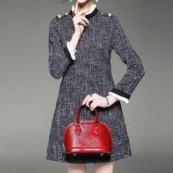 Alaroo - Long Sleeve A-line Tweed Dress