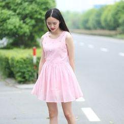 Rainbeam - Sleeveless Rhinestone A-Line Dress