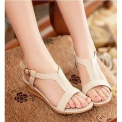 Freesia - T-Bar Low Wedge Sandals