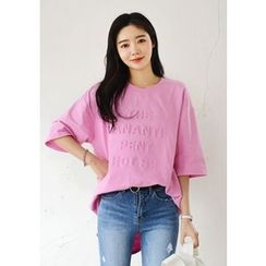 DEEPNY - Letter Embossed Boxy-Fit T-Shirt