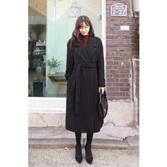 CHERRYKOKO - Notched-lapel Wool Blend Long Wrap Coat