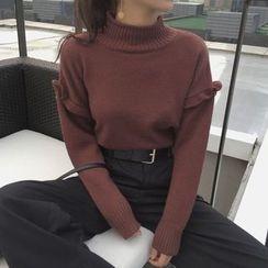 Dute - Frill Trim Mock Neck Sweater