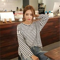 QNIGIRLS - Drop-Shoulder Stripe T-Shirt