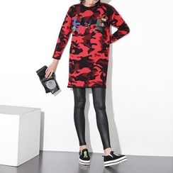 Ultra Modern - Letter Applique Camo 3/4 Sleeve Knit Tunic