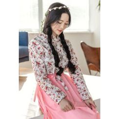 Dalkong - Set: Small Rose Print Hanbok Top + Skirt
