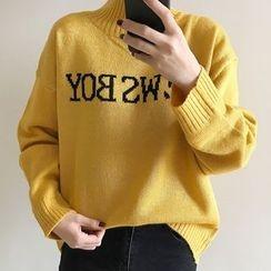 Dute - Lettering Mock Neck Sweater