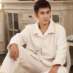 Dreamland - 睡衣套裝: 絨質長袖上衣 + 長褲