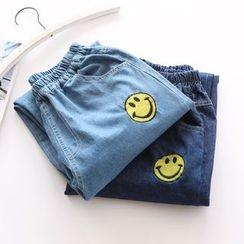 布丁坊 - 笑脸刺绣直筒牛仔裤