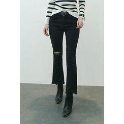 ATTYSTORY - Cutout-Knee Frayed Boot-Cut Pants