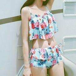 Moonrise Swimwear - Set: Floral Swim Top + Swim Bottom