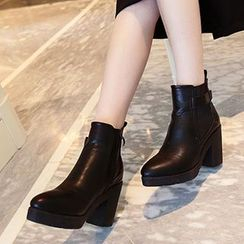 Siya - Block Heel Pointy Short Boots