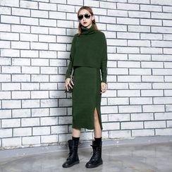 Sonne - 高领毛衣+针织裙套装