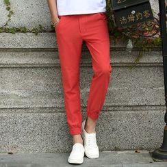 Recluso - Plain Linen Cotton Jogger Pants