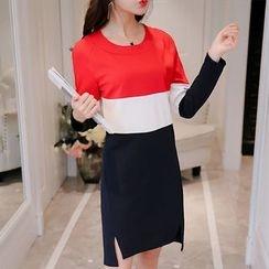 YUMU - Long-Sleeve Color Block T-Shirt Dress