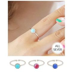 Miss21 Korea - Faux-Gem Adjustable Silver Ring