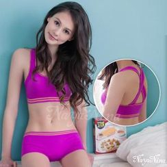 Naya Nina - Set: Contrast Cross-Strap-Back Sporty Bra + Boyshorts