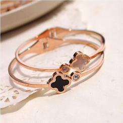 Nanazi Jewelry - Rhinestone Four-Leaf Clover Bangle