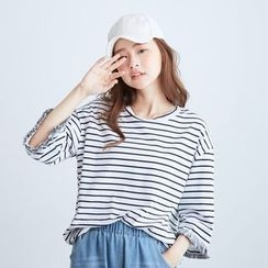 BAIMOMO - Elbow-Sleeve Fringe-Trim Striped T-Shirt