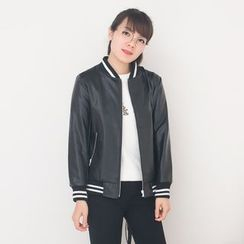 FFBABY - Lettering Back Faux Leather Jacket