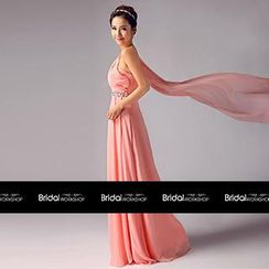 Bridal Workshop - One-Shoulder Jeweled Sheath Evening Gown