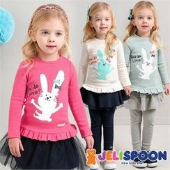 JELISPOON - Girls Frill-Hem Printed T-Shirt