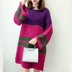 Soswift - Maternity Color Panel Sweater Dress