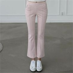 CHICFOX - Band-Waist Boot-Cut Pants