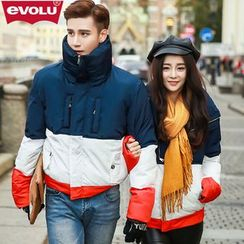 Evolu Fashion - Matching Couple Color-Block Padded Jacket