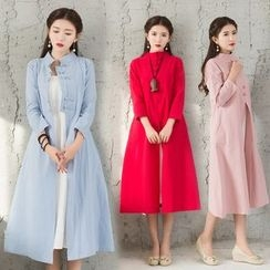Diosa - Plain Mock Neck Long Coat