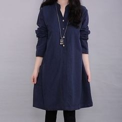 Diosa - Plain Buttoned Long Sleeve Dress