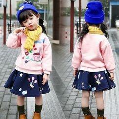 Merry Go Round - Kids Set: Printed Sweatshirt + A-Line Skirt