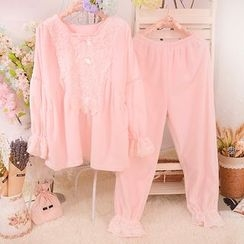 Snorie - Pajama Set: Lace Trim Long Sleeve Top + Pants