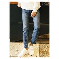 HOTBOOM - Fray-Hem Washed Straight-Cut Jeans