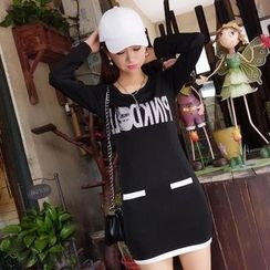Neon Nite - Lettering Long-Sleeve T-Shirt Dress