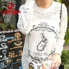 Elisa Rachel - Long-Sleeve Lace Panel T-Shirt Dress