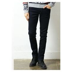 HOTBOOM - Fleece-Lined Straight-Cut Jeans