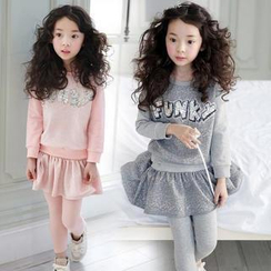 Cuckoo - Kids Set: Sequined Pullover + Inset Skirt Leggings