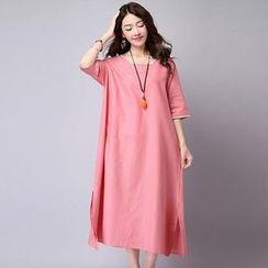 Diosa - Contrast Trim Elbow-Sleeve Midi Dress