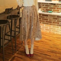 Cherryville - Floral Print Dip-Back A-Line Skirt