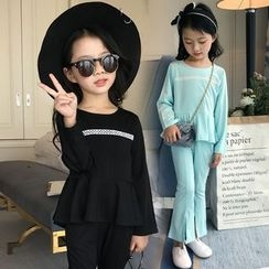 Pegasus - Kids Set: Long Sleeve T-Shirt + Plain Slit Hem Pants