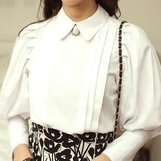 WHITE FOX - Pintuck-Accent Puff-Sleeve Blouse