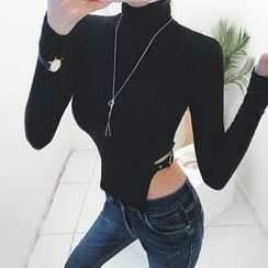 DABAGIRL - Turtle-Neck Buckled Cutout-Hem Top