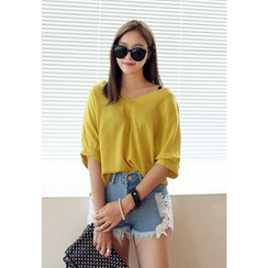 REDOPIN - V-Neck Elbow-Sleeve Top