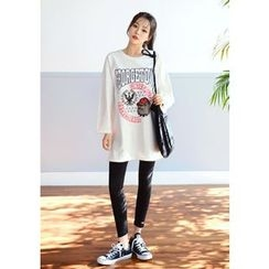 DEEPNY - Round-Neck Printed Long Top